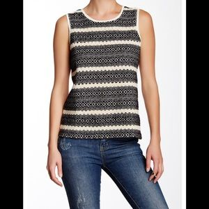 Lucky Brand Striped Embroidered Tank XS